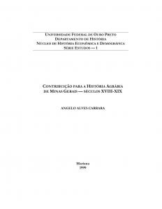 Capa para Contribuição para a História Agrária de Minas Gerais: século XVIII-XIX