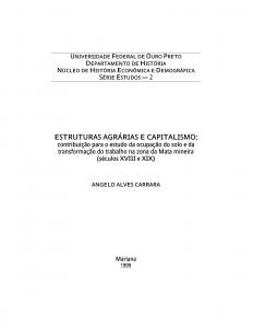 Capa para Estruturas Agrárias e Capitalismo: contribuição para o estatuto da ocupação do trabalho na Zona da Mata central de Minas Gerais (séculos XVIII e XIX)